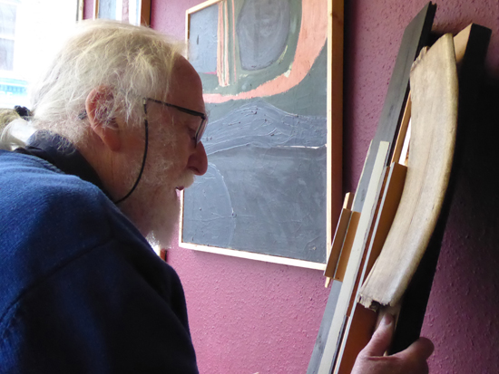 Islwyn Watkins in his shop with Relief with Grey Verticals on his 80th birthday